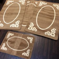 ROMANY WASHABLES GYPSY MATS 4PC SET SOFT FRAME DESIGN BROWN NON SLIP RUGS NEW